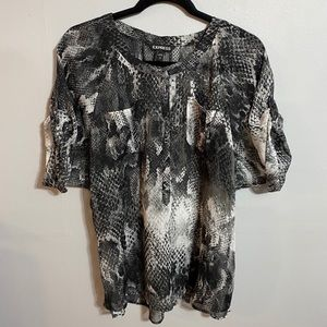 Express Snakeskin Semi Sheer Top